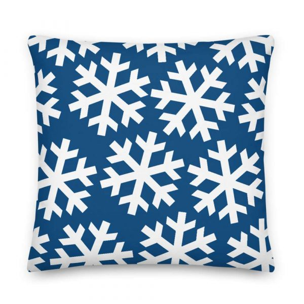Sofakissen Schneeflocke weiß auf blau 6 mockup e8e955c0