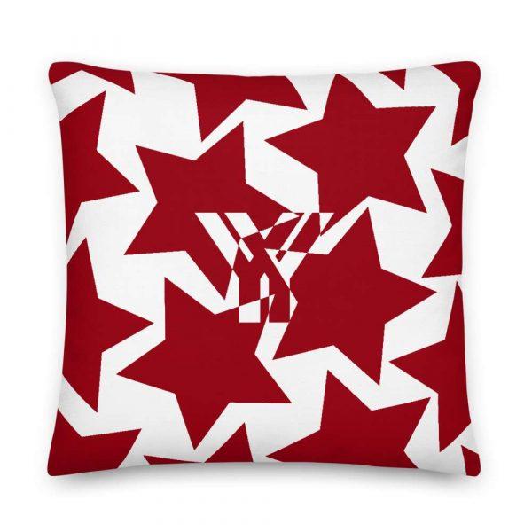 Sofakissen Sterne rot auf weiß 5 mockup eaa46298