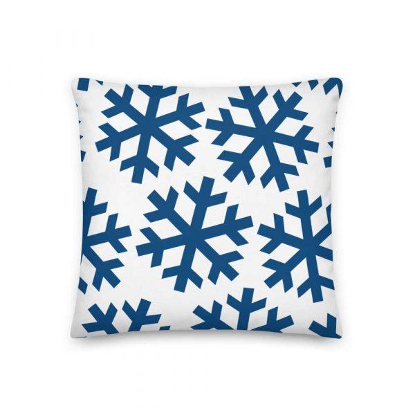 Premium Kissen Schneeflocke blau auf weiß 2 mockup f389bc1a