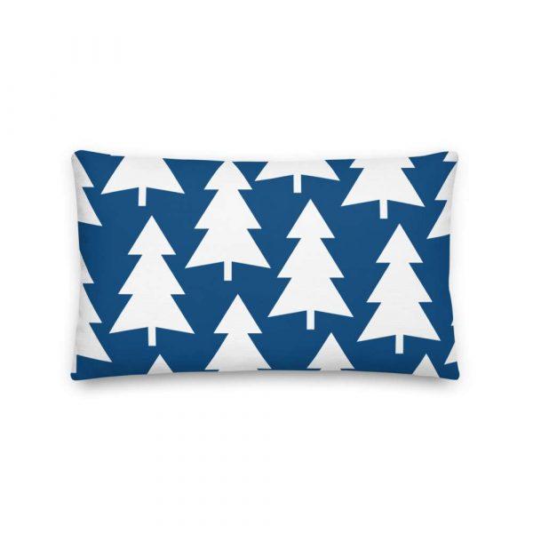 Premium Kissen Tannenbaum weiß auf blau 4 mockup f52507aa