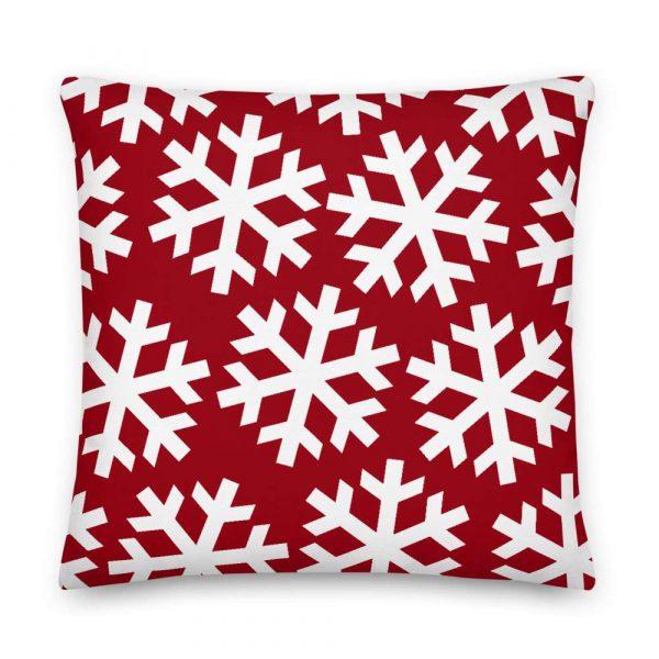 Sofakissen Schneeflocke weiß auf rot 6 mockup f7114dd8