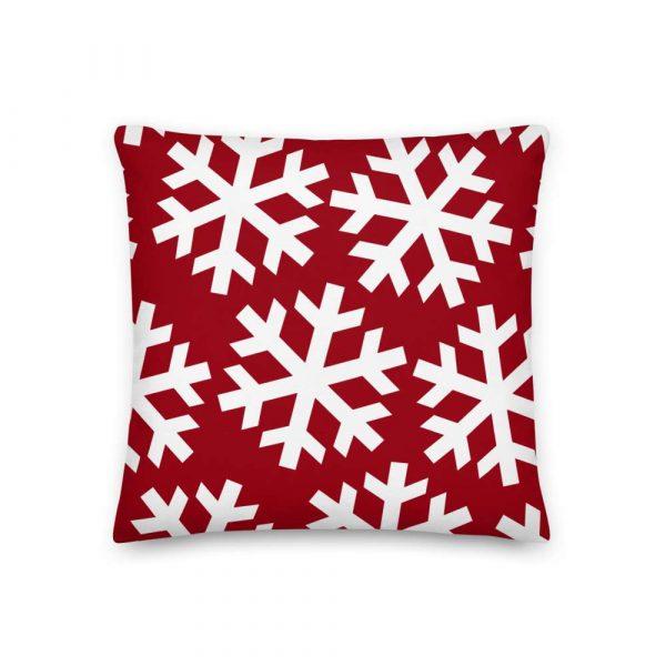Sofakissen Schneeflocke weiß auf rot 2 mockup fc31590c