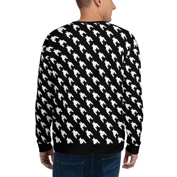 herren sweatshirt schwarz weiss hahnentritt 01