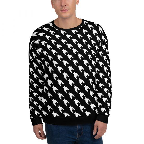 herren sweatshirt schwarz weiss hahnentritt 12