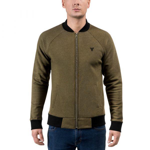 sweatjacket heather military green front antony yorck