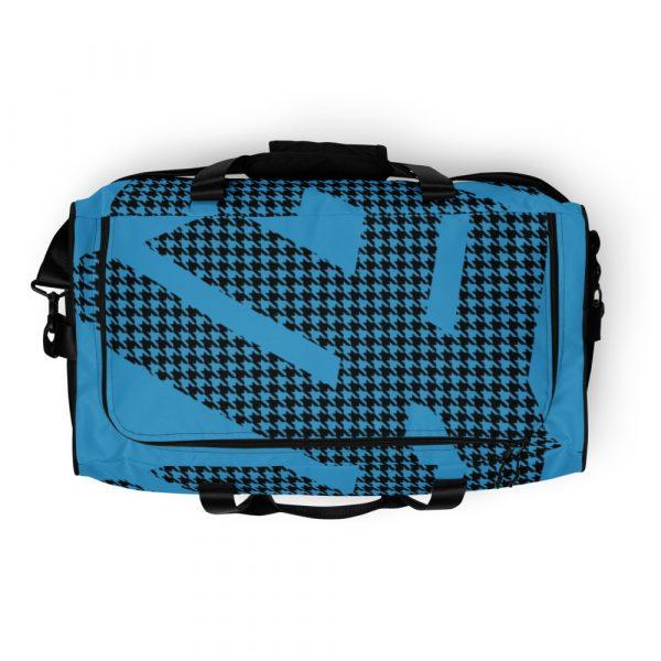 sporttasche trainingstasche houndstooth logo blue top view