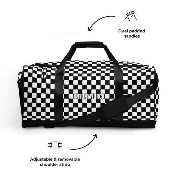 sporttasche trainingstasche karo checkers black front features
