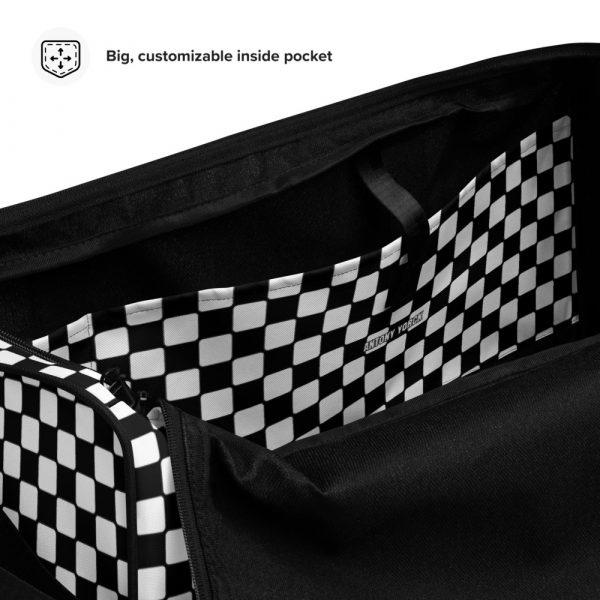 sporttasche trainingstasche karo checkers black white inside