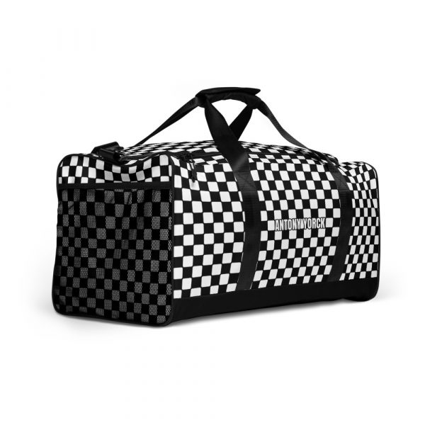 sporttasche trainingstasche karo checkers black white front left view