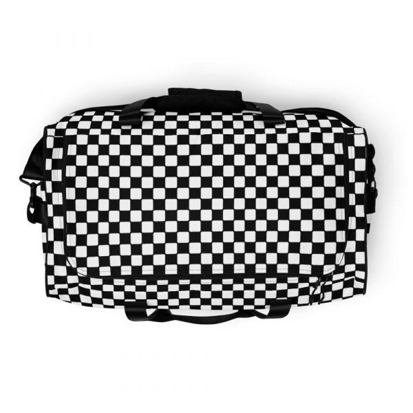 sporttasche trainingstasche karo checkers black white top view