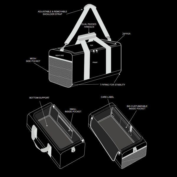 schema details reisetasche sporttasche trainingstasche weekender graphic features