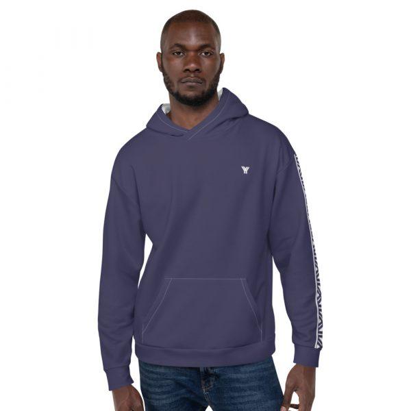 Herren Hoodie rhodonit mit Galonstreifen in weiß 1 all over print unisex hoodie white front 611295308e010