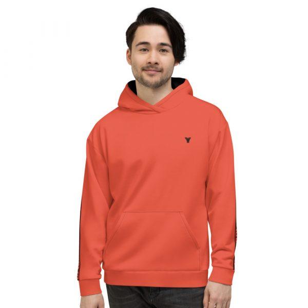 Herren Hoodie mandarin mit Galonstreifen in schwarz 1 all over print unisex hoodie white front 611297a77aee3