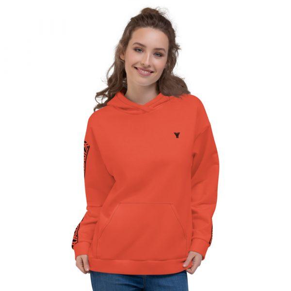 Damen Hoodie mandarin mit Galonstreifen in schwarz 2 all over print unisex hoodie white front 6112980e2cd5c