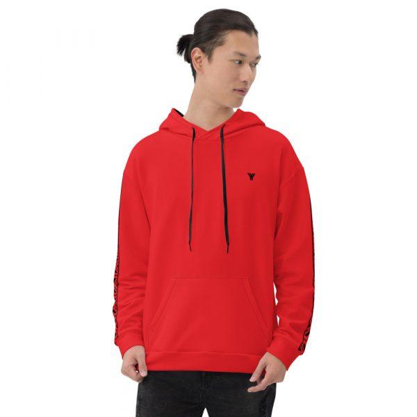 Herren Hoodie rot mit Galonstreifen in schwarz 2 all over print unisex hoodie white front 61129a5e2029e