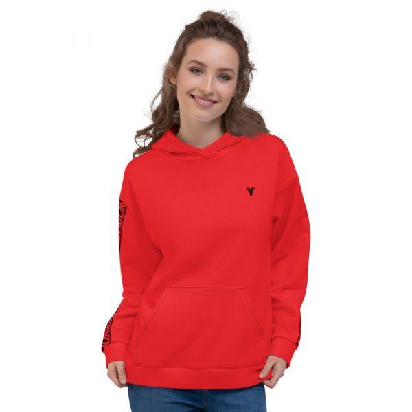 Damen Hoodie rot mit Galonstreifen in schwarz 2 all over print unisex hoodie white front 61129ae0abb40