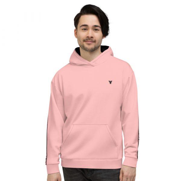 Herren Hoodie rosa mit Galonstreifen in schwarz 2 all over print unisex hoodie white front 61129f0eb90ac