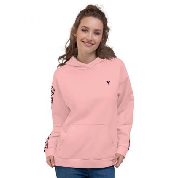 Damen Hoodie rosa mit Galonstreifen in schwarz 2 all over print unisex hoodie white front 61129f805e578