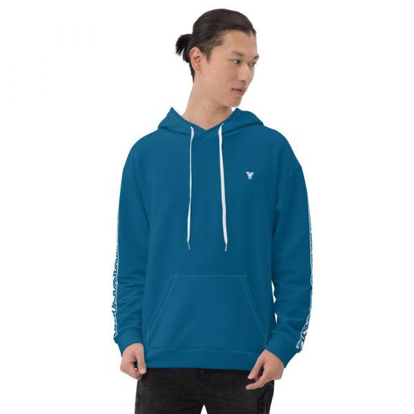 Herren Hoodie Mykonos blau mit Galonstreifen in weiß 1 all over print unisex hoodie white front 6112a0462f99c