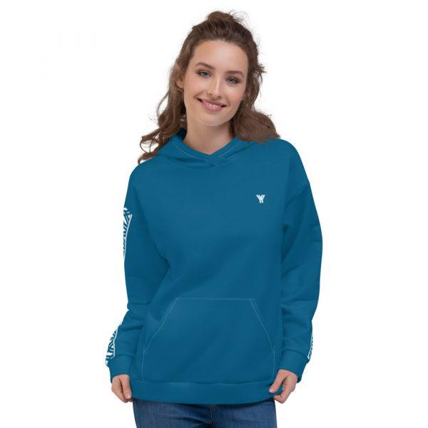 Damen Hoodie Mykonos blau mit Galonstreifen in weiß 1 all over print unisex hoodie white front 6112a0f876702