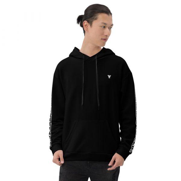 Herren Hoodie schwarz mit Galonstreifen in weiß 2 all over print unisex hoodie white front 6112a19caf715
