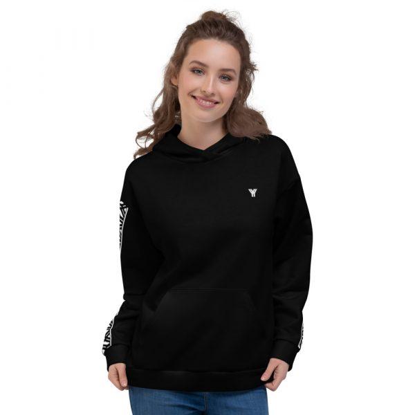 Damen Hoodie schwarz mit Galonstreifen in weiß 2 all over print unisex hoodie white front 6112a2947635c