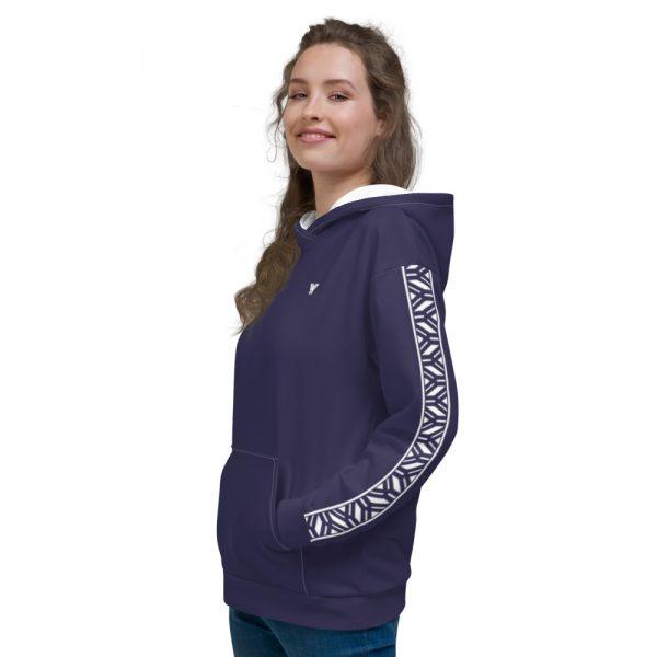 Damen Hoodie rhodonit mit Galonstreifen in weiß 4 all over print unisex hoodie white left 611295a82fb32