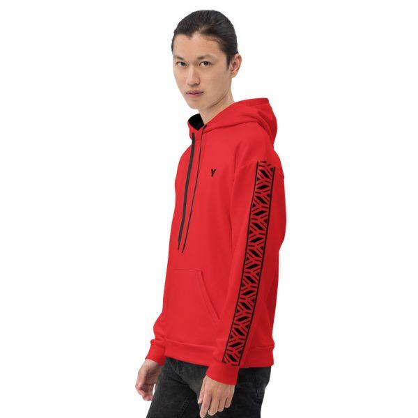 Herren Hoodie rot mit Galonstreifen in schwarz 1 all over print unisex hoodie white left 61129a5e2001d