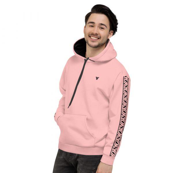 Herren Hoodie rosa mit Galonstreifen in schwarz 4 all over print unisex hoodie white left 61129f0eb94bb