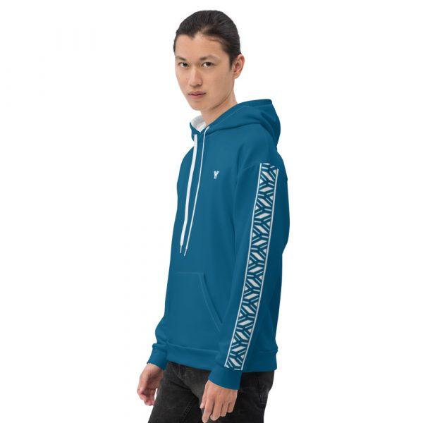 Herren Hoodie Mykonos blau mit Galonstreifen in weiß 4 all over print unisex hoodie white left 6112a0462fc4d
