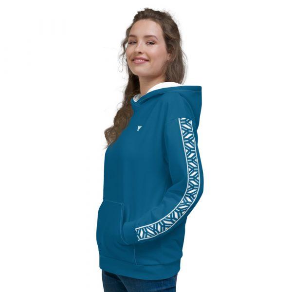 Damen Hoodie Mykonos blau mit Galonstreifen in weiß 4 all over print unisex hoodie white left 6112a0f876c95