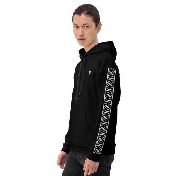 Herren Hoodie schwarz mit Galonstreifen in weiß 4 all over print unisex hoodie white left 6112a19caf961