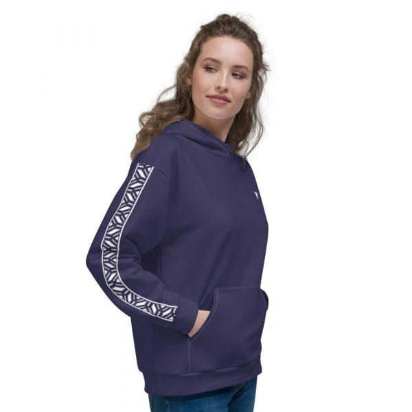 Damen Hoodie rhodonit mit Galonstreifen in weiß 3 all over print unisex hoodie white right 611295a82fa0f