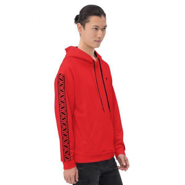 Herren Hoodie rot mit Galonstreifen in schwarz 4 all over print unisex hoodie white right 61129a5e20686