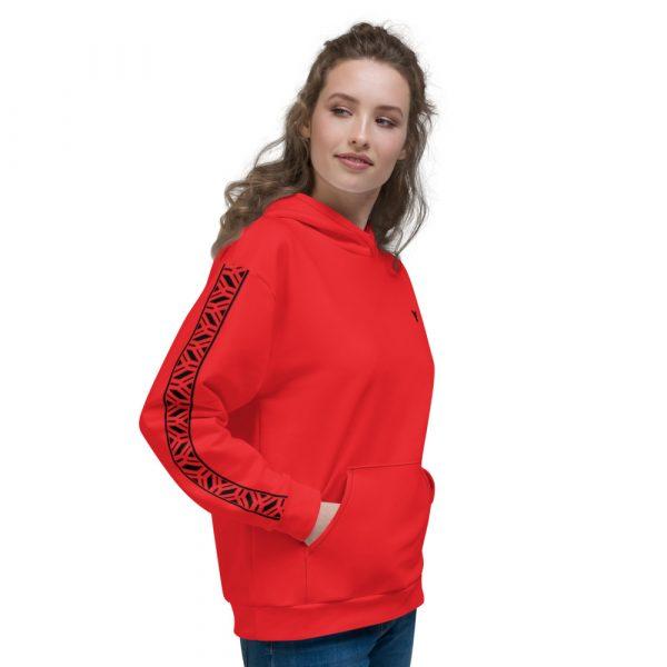 Damen Hoodie rot mit Galonstreifen in schwarz 4 all over print unisex hoodie white right 61129ae0abf3c