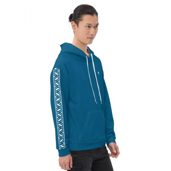 Herren Hoodie Mykonos blau mit Galonstreifen in weiß 3 all over print unisex hoodie white right 6112a0462fb9e