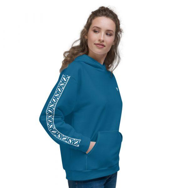 Damen Hoodie Mykonos blau mit Galonstreifen in weiß 3 all over print unisex hoodie white right 6112a0f876b05