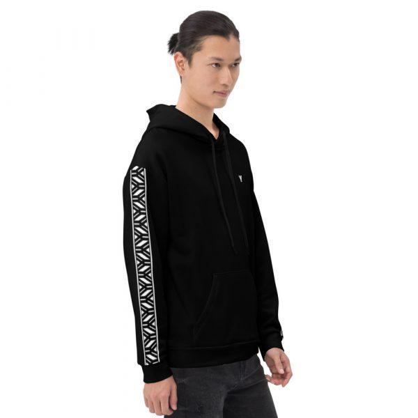 Herren Hoodie schwarz mit Galonstreifen in weiß 1 all over print unisex hoodie white right 6112a19caf54f