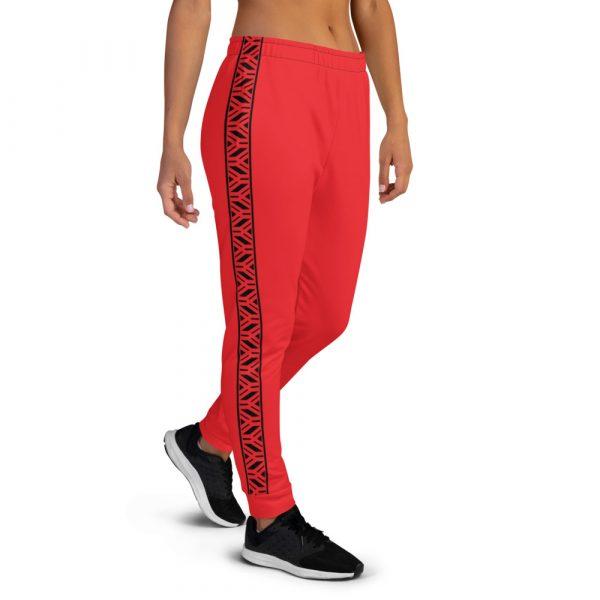 Damen Designer Jogginghose rot mit Galonstreifen in schwarz 1 all over print womens joggers white right 6110f841eb5c3